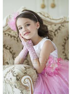 Митенки розовые кружевные на девочку Неженка (7-12 лет)