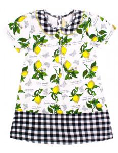 """Платье белого цвета в черную клетку """"Лимоны"""""""