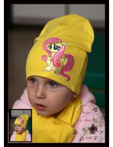 Комплект для девочек желтый (удлиненная шапка и шарф) «Флаттершай»