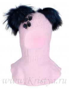 """Шлем зимний розовый с двумя синими помпонами """"Mirella"""""""