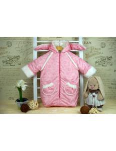 Конверт-мешок для новорожденного розового цвета «Заяц», осенний/весенний