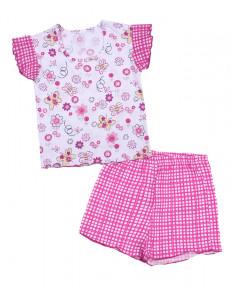 Пижама летняя для девочек в розовую клетку с бабочками
